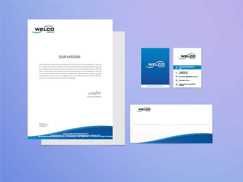 identité graphique logo welco carte de visite