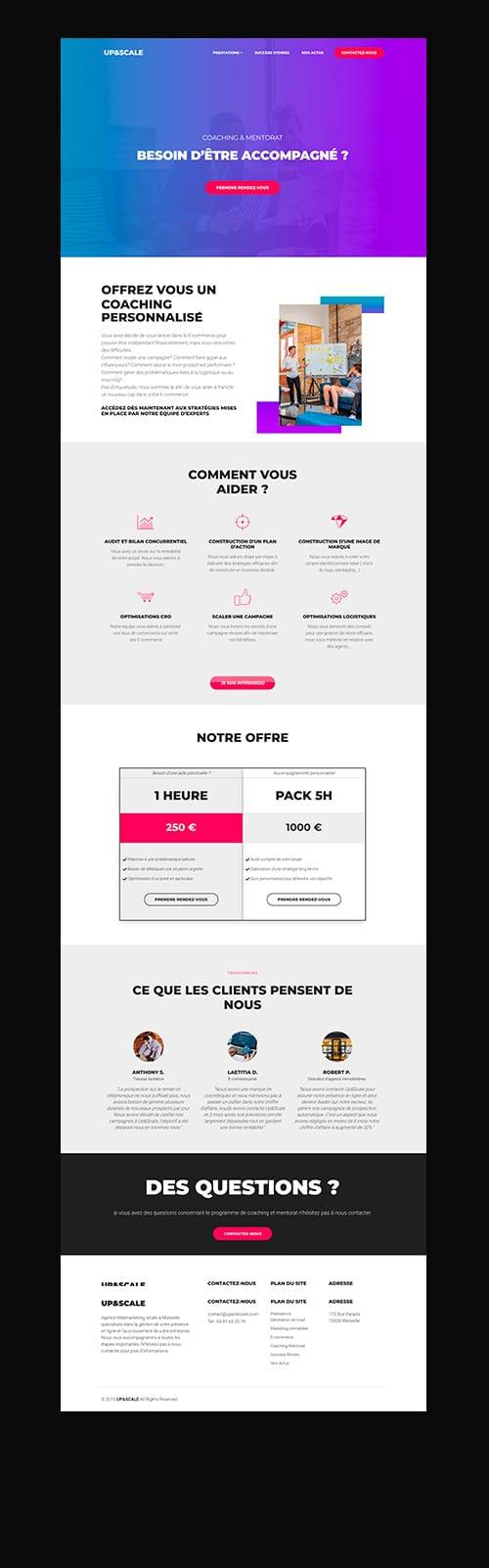 upandscale agence marseille site web page et logo