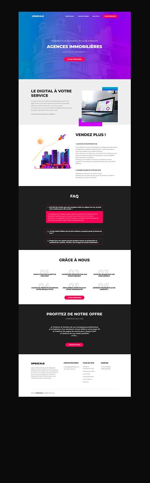 upandscale marseille site web page et logo